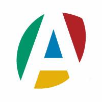 logo de l'Artisanat (Chambres de Métiers et de l'Artisanat) un a majuscule avec les couleur vert, bleu, jaune, rouge et blanc.