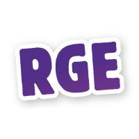 logo du RGE (Reconnu Garant de l'Environnement) rge en majuscule écrit en bleu.