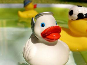 une photo avec des canards en platique flotant dans une piscine