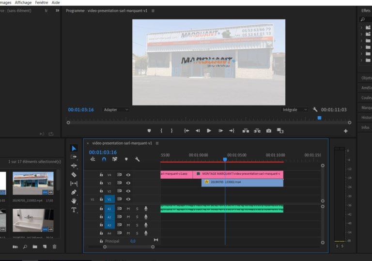 Image du programme premiere pro sur le projet de vidéo de présentation de la SARL MARQUANT.