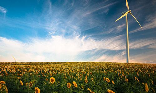Image de Pixabay d'une éolienne dans un champ de tournesol